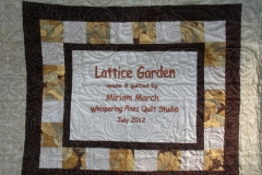 Label was attached to the quilt back before the quilting was done